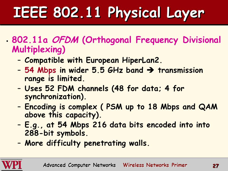 IEEE 802.11 Physical Layer  802.11a OFDM (Orthogonal Frequency Divisional Multiplexing) –Compatible with European HiperLan2.