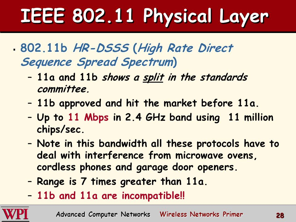 IEEE 802.11 Physical Layer  802.11b HR-DSSS (High Rate Direct Sequence Spread Spectrum) –11a and 11b shows a split in the standards committee.