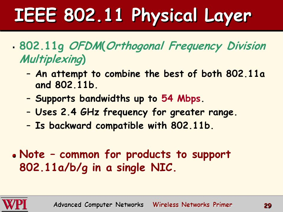 IEEE 802.11 Physical Layer  802.11g OFDM(Orthogonal Frequency Division Multiplexing) –An attempt to combine the best of both 802.11a and 802.11b.