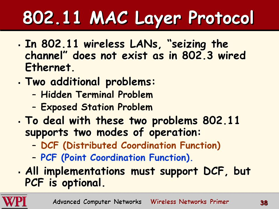 802.11 MAC Layer Protocol  In 802.11 wireless LANs, seizing the channel does not exist as in 802.3 wired Ethernet.