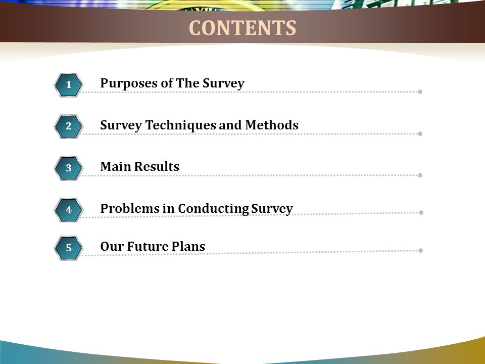 CONTENTS Survey Techniques and Methods 2 5 1 Problems in Conducting Survey 4 Purposes of The Survey 1 Our Future Plans 5 Main Results 3