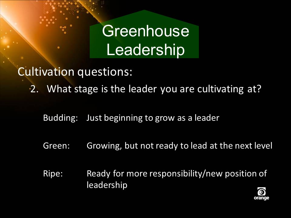 Cultivation questions: 2.What stage is the leader you are cultivating at? Budding: Just beginning to grow as a leader Green:Growing, but not ready to