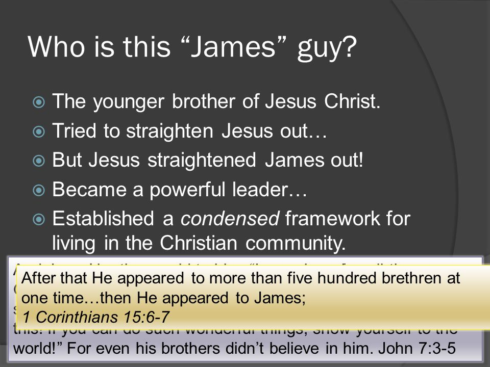 Who is this James guy.  The younger brother of Jesus Christ.
