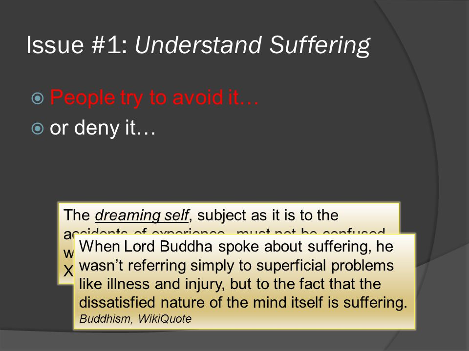 Issue #1: Understand Suffering  People try to avoid it…  or deny it… The dreaming self, subject as it is to the accidents of experience, must not be