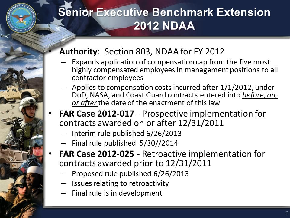 Contractor Comment Period Past Performance Evaluations (2012-028) Authorities: – Section 853, NDAA for FY 2013 – Section 806, NDAA for FY 2012 DoD Sponsor: DPAP/CPIC; DPAP/PDI Outcome: Revised past performance evaluation language – Contractor comment period is 14 calendar days from date of notification of past performance evaluation in CPARS – Evaluations and contractor comments are automatically transmitted to PPIRS no later than 14 days after contractor notification – Government must update PPIRS with comments provided after 14 days and any subsequent agency review of comments Stage of Rulemaking: – Final rule - published 5/30/2014