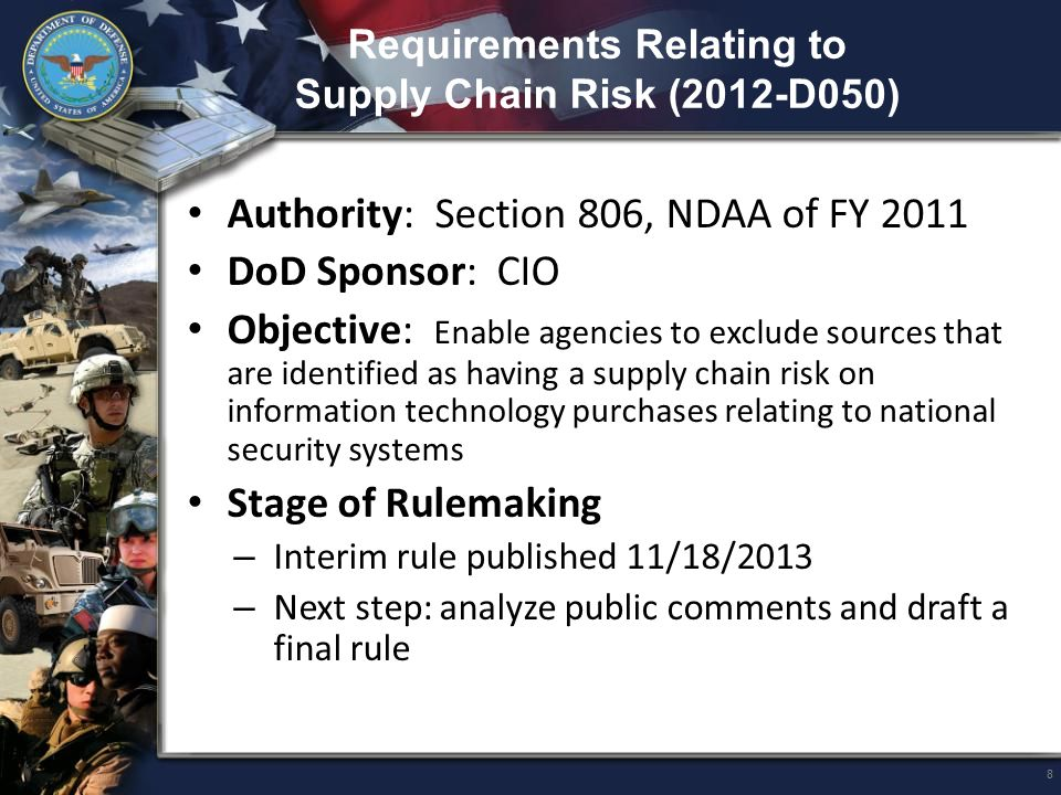 Ending Trafficking in Persons (2013-001) Authorities: – Executive Order 13627 – Title XVII of the NDAA for FY 2013 DoD Sponsors: DPAP/CPIC; USD(P&R) CTIP Program Manager Objective: Strengthen protections against trafficking in persons Stage of Rulemaking – Proposed rule - published 9/26/2013 – Associated DFARS Final Rule: 2013-D007, Further Implementation of Trafficking in Persons Policy – Next steps - publish final FAR rule and DFARS rule Public Meeting - 3/2/2013 19