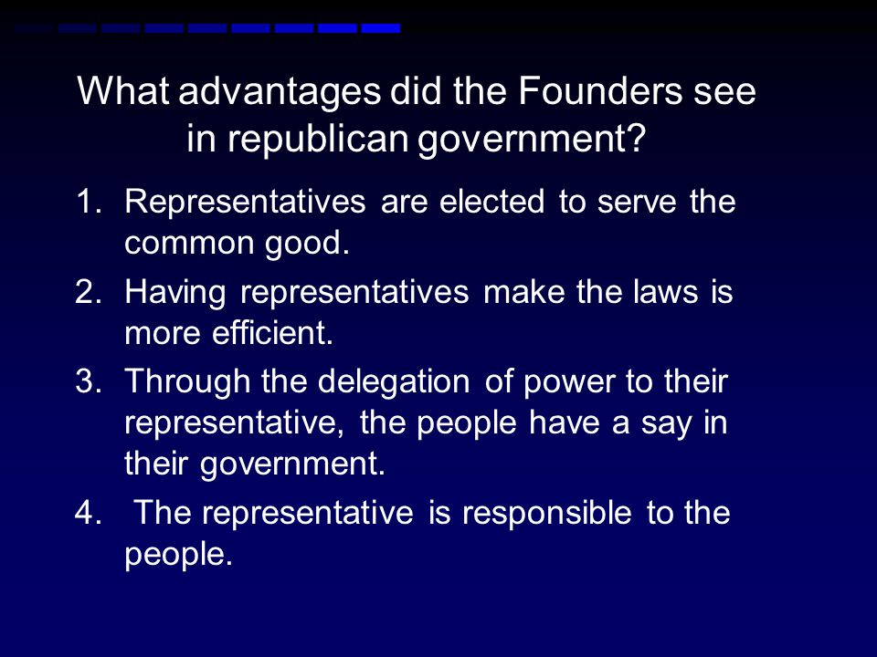 What were the disadvantages of republican government.