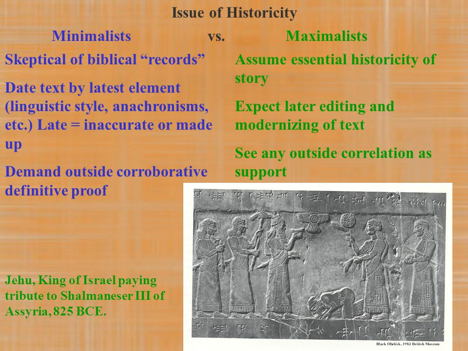"Issue of Historicity Minimalists vs.Maximalists Skeptical of biblical ""records"" Date text by latest element (linguistic style, anachronisms, etc.) Lat"