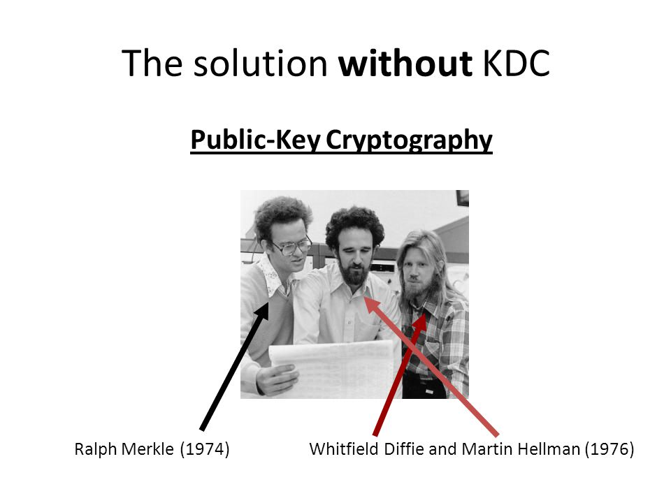The solution without KDC Public-Key Cryptography Whitfield Diffie and Martin Hellman (1976)Ralph Merkle (1974)