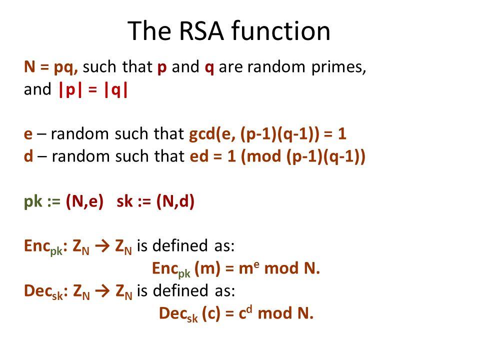 The RSA function N = pq, such that p and q are random primes, and |p| = |q| e – random such that gcd(e, (p-1)(q-1)) = 1 d – random such that ed = 1 (mod (p-1)(q-1)) pk := (N,e) sk := (N,d) Enc pk : Z N → Z N is defined as: Enc pk (m) = m e mod N.