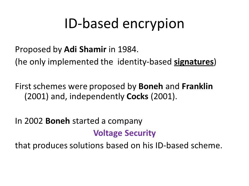 ID-based encrypion Proposed by Adi Shamir in 1984.