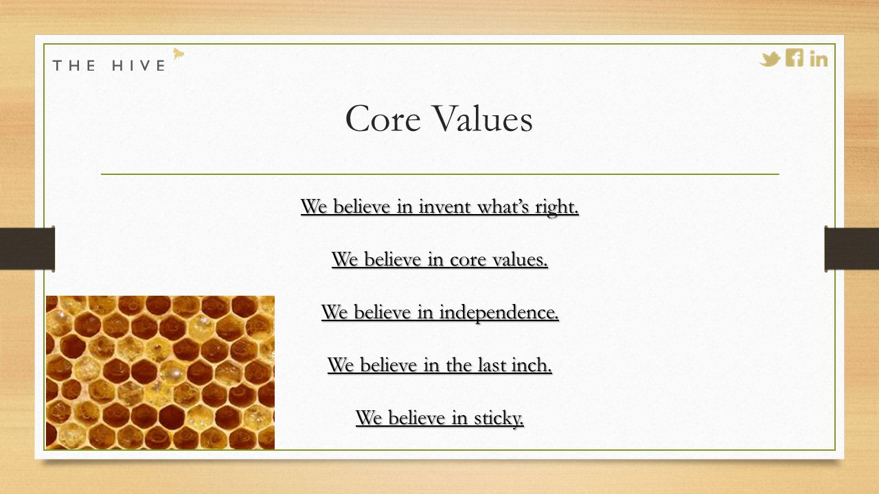 Core Values We believe in invent what's right. We believe in core values.