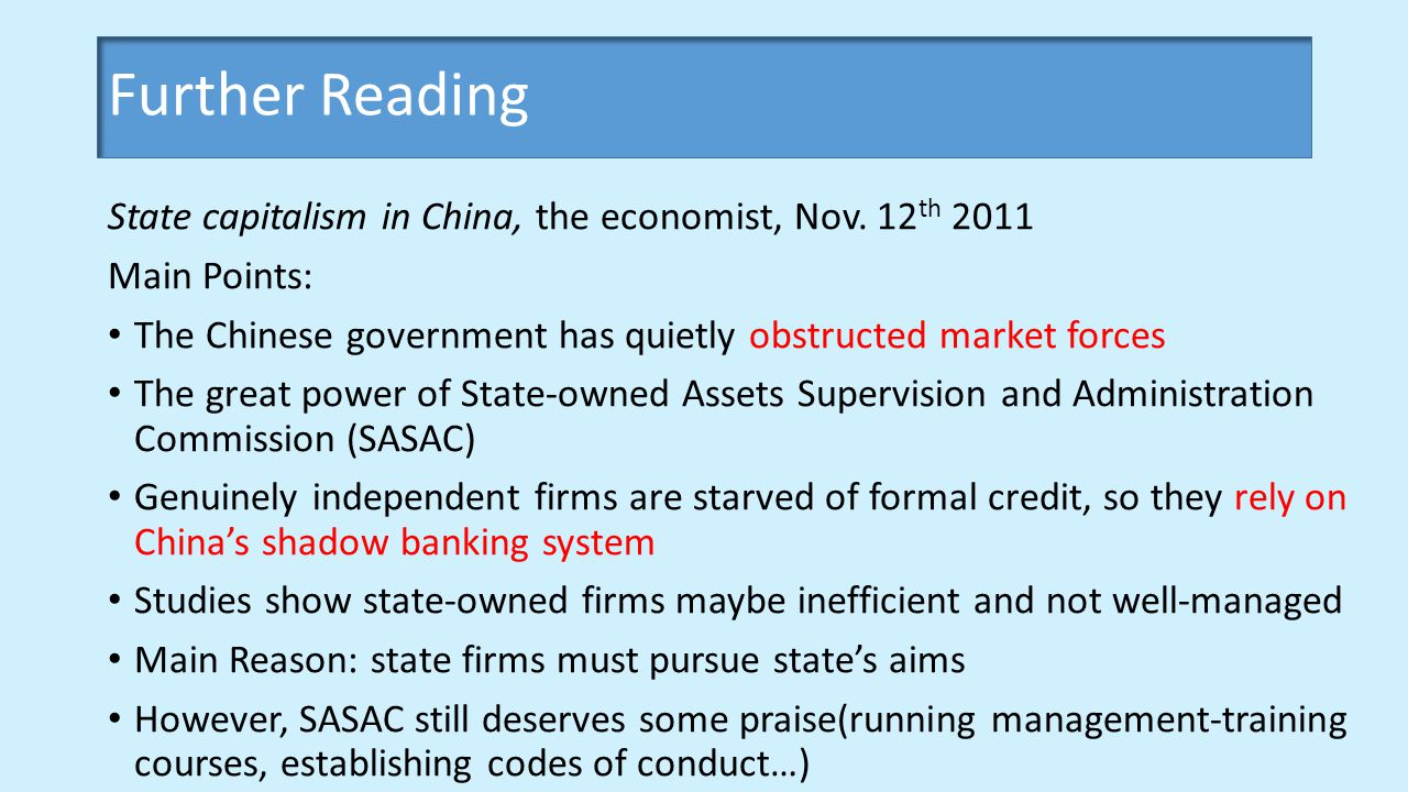 State capitalism in China, the economist, Nov.