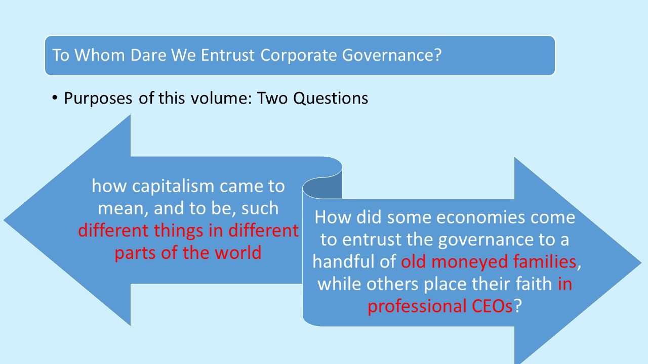 Purposes of this volume: Two Questions To Whom Dare We Entrust Corporate Governance.