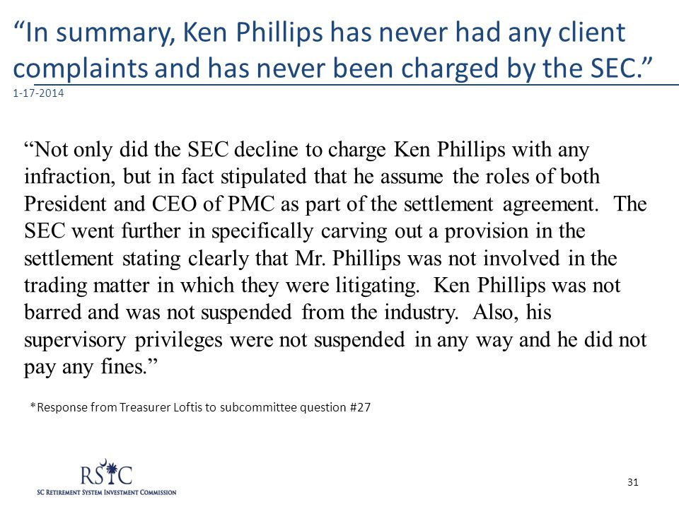 """In summary, Ken Phillips has never had any client complaints and has never been charged by the SEC."" 1-17-2014 ""Not only did the SEC decline to charg"