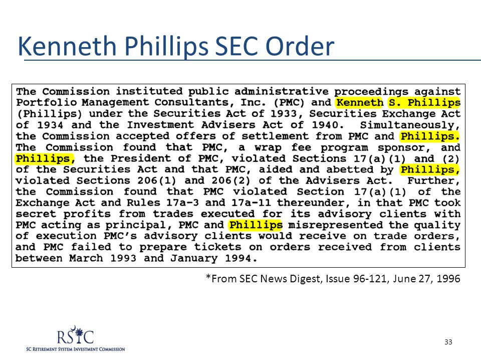 Kenneth Phillips SEC Order *From SEC News Digest, Issue 96-121, June 27, 1996 33