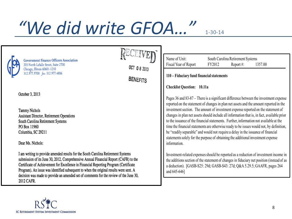 We did write GFOA… 1-30-14 8