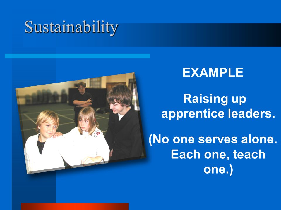 Sustainability EXAMPLE Raising up apprentice leaders. (No one serves alone. Each one, teach one.)