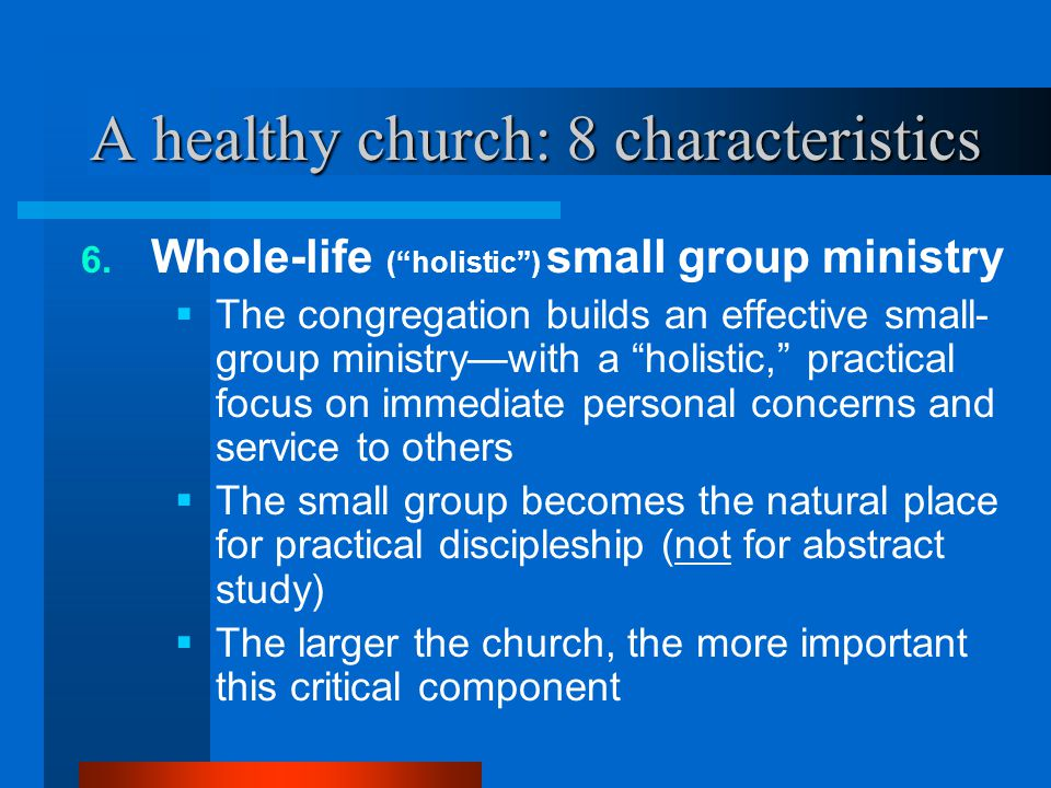 """A healthy church: 8 characteristics 6. Whole-life (""""holistic"""") small group ministry  The congregation builds an effective small- group ministry—with"""
