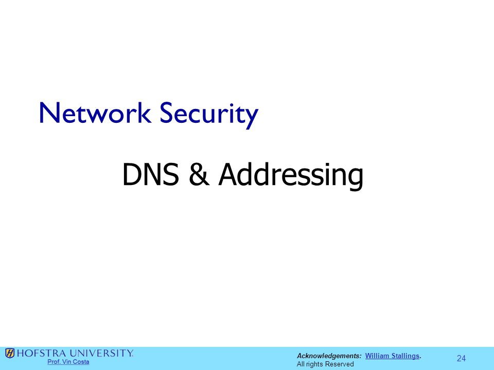 Acknowledgements: William Stallings.William Stallings All rights Reserved Network Security DNS & Addressing 24