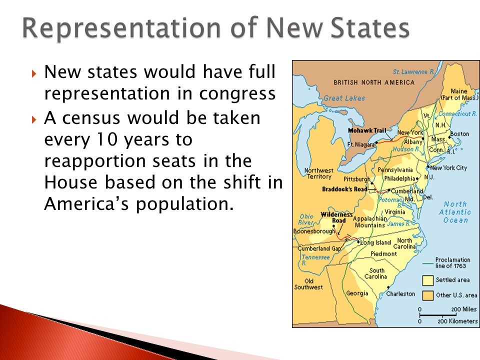  New states would have full representation in congress  A census would be taken every 10 years to reapportion seats in the House based on the shift in America's population.