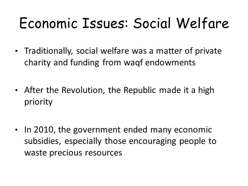 Economic Issues: Social Welfare Traditionally, social welfare was a matter of private charity and funding from waqf endowments After the Revolution, the Republic made it a high priority In 2010, the government ended many economic subsidies, especially those encouraging people to waste precious resources