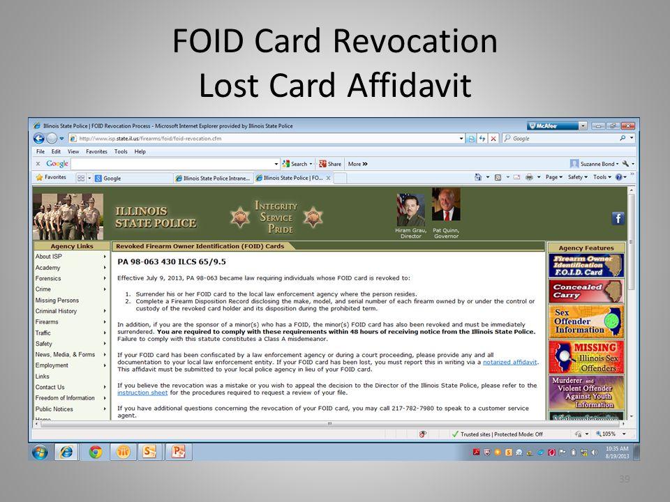 FOID Card Revocation Lost Card Affidavit 39