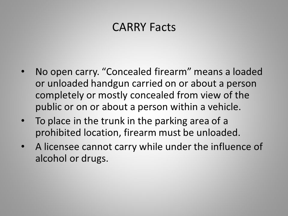 No open carry.