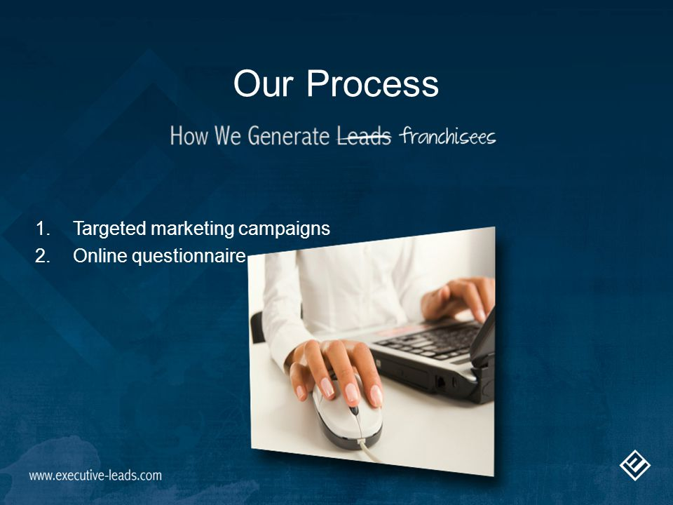 Our Process 1.Targeted marketing campaigns 2.Online questionnaire