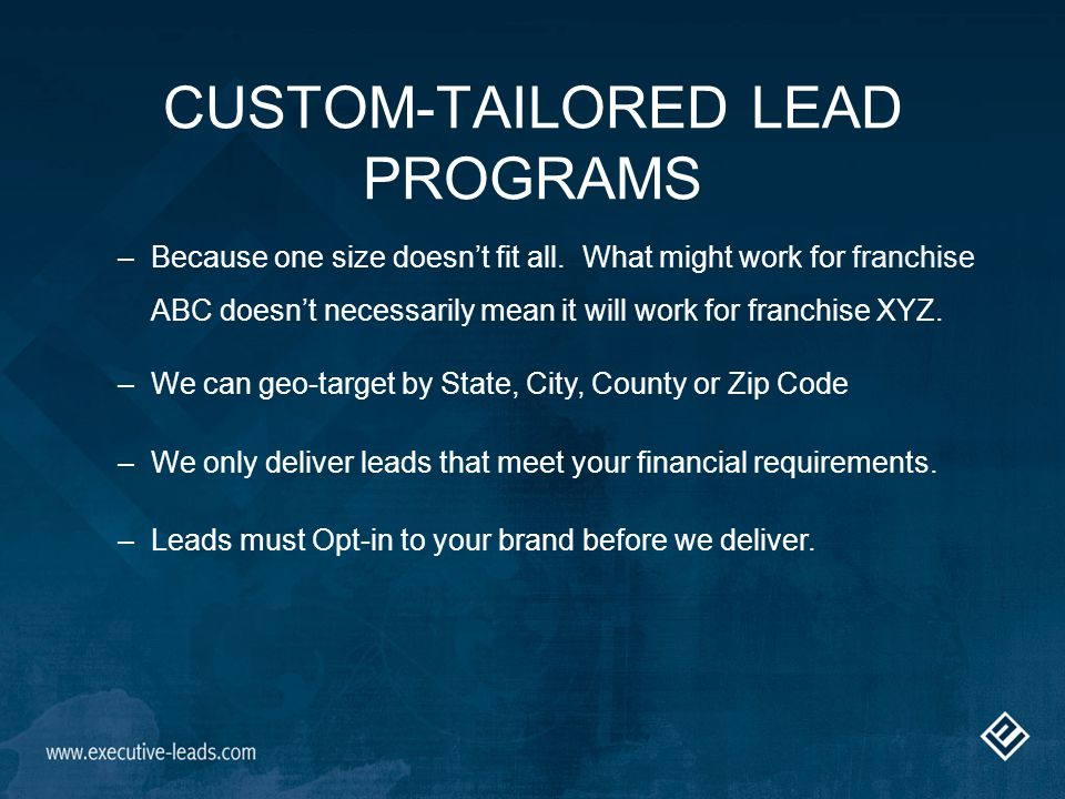 Focus on Service and building long-term relationships Maintaining an open line of communication Feedback and suggestions are essential to our process for customizing each franchise program.