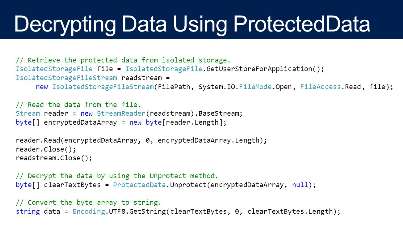 // Retrieve the protected data from isolated storage.