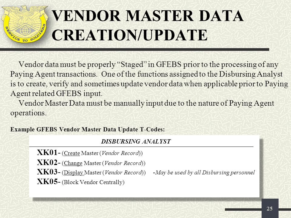 """25 Vendor data must be properly """"Staged"""" in GFEBS prior to the processing of any Paying Agent transactions. One of the functions assigned to the Disbu"""