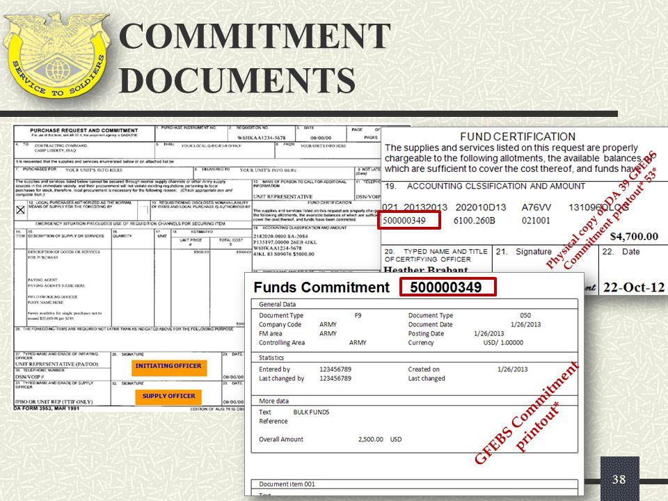 38 GFEBS Commitment printout* Physical copy of DA 39 GFEBS Commitment printout* 53* COMMITMENT DOCUMENTS