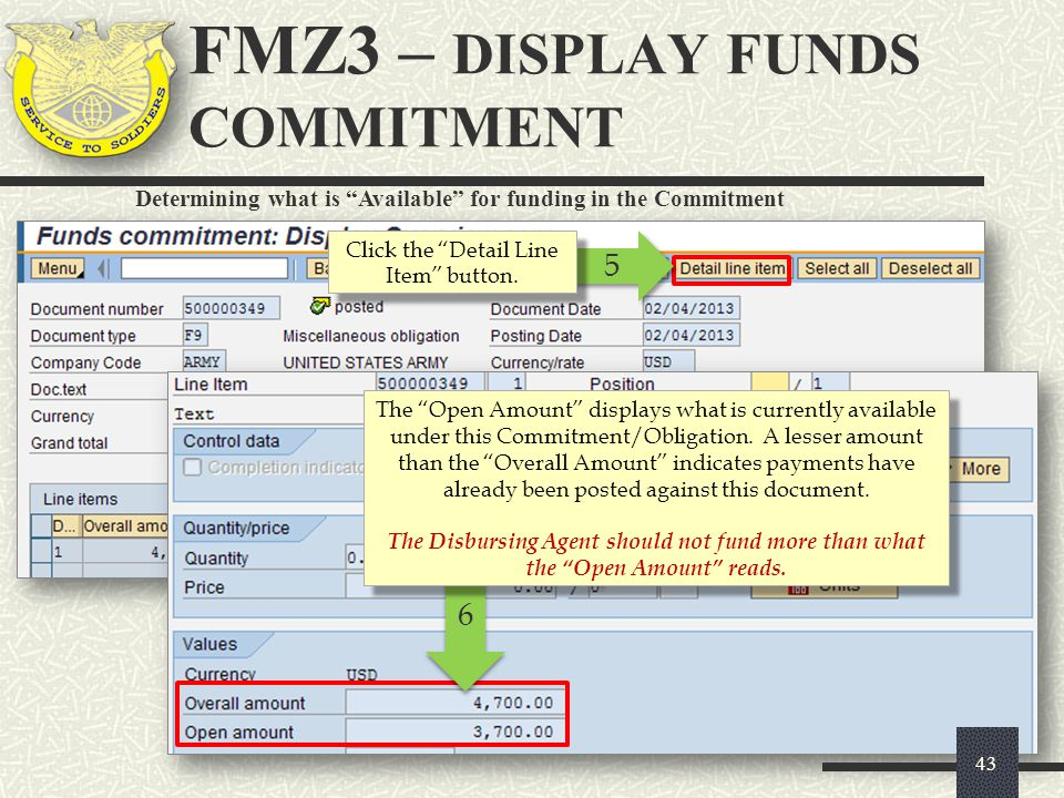 """5 5 Click the """"Detail Line Item"""" button. Determining what is """"Available"""" for funding in the Commitment 6 6 The """"Open Amount"""" displays what is currentl"""