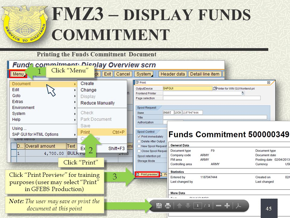 """Printing the Funds Commitment Document 1 1 Click """"Menu"""" 2 2 Click """"Print"""" 3 3 Click """"Print Preview"""" for training purposes (user may select """"Print"""" in"""