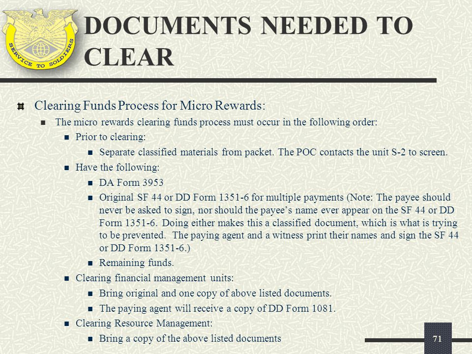 Clearing Funds Process for Micro Rewards: The micro rewards clearing funds process must occur in the following order: Prior to clearing: Separate clas