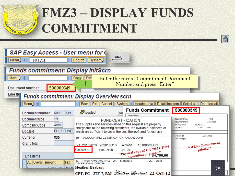 """FMZ3 500000349 1 1 Enter the correct Commitment Document Number and press """"Enter"""" FMZ3 – DISPLAY FUNDS COMMITMENT 79 *GFEBS Commitment printout* *Phys"""