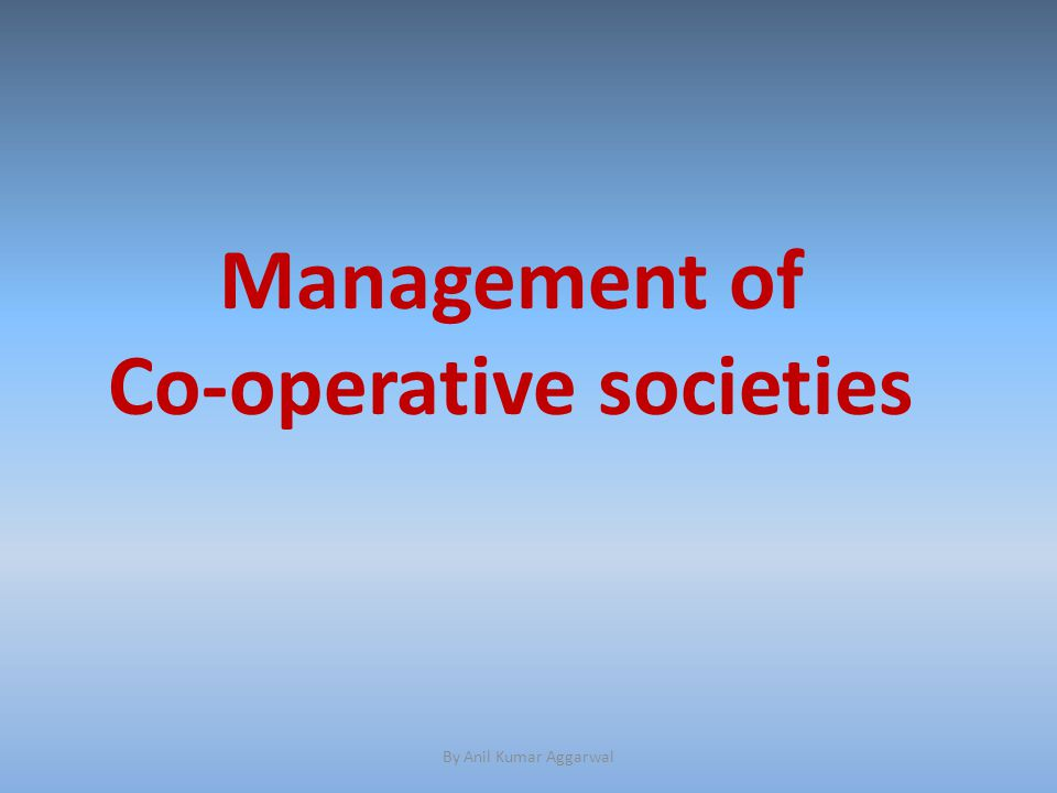 Management of co-operative housing complex by co-operative societies.