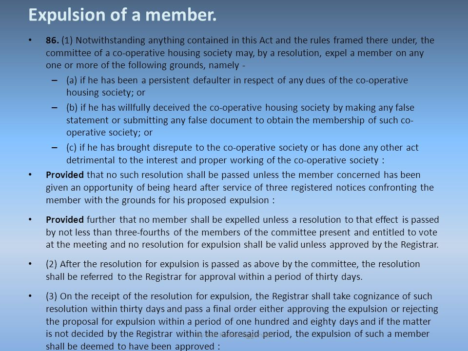 Expulsion of a member. 86.