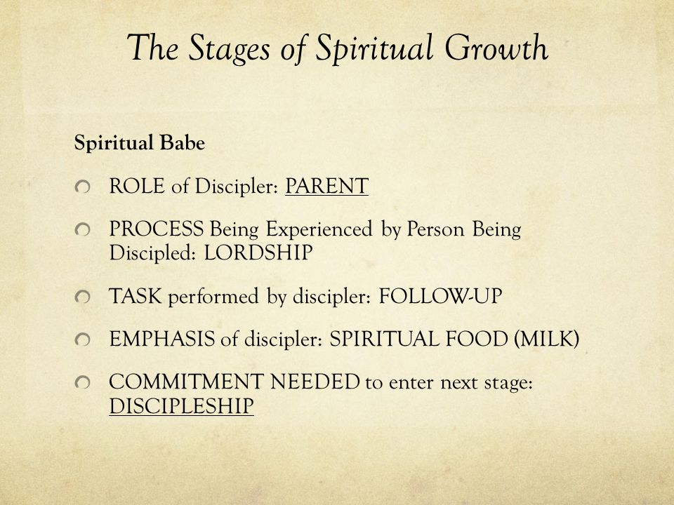 The Stages of Spiritual Growth Spiritual Babe ROLE of Discipler: PARENT PROCESS Being Experienced by Person Being Discipled: LORDSHIP TASK performed by discipler: FOLLOW-UP EMPHASIS of discipler: SPIRITUAL FOOD (MILK) COMMITMENT NEEDED to enter next stage: DISCIPLESHIP