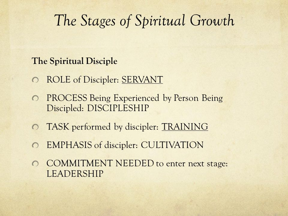 The Stages of Spiritual Growth The Spiritual Disciple ROLE of Discipler: SERVANT PROCESS Being Experienced by Person Being Discipled: DISCIPLESHIP TASK performed by discipler: TRAINING EMPHASIS of discipler: CULTIVATION COMMITMENT NEEDED to enter next stage: LEADERSHIP