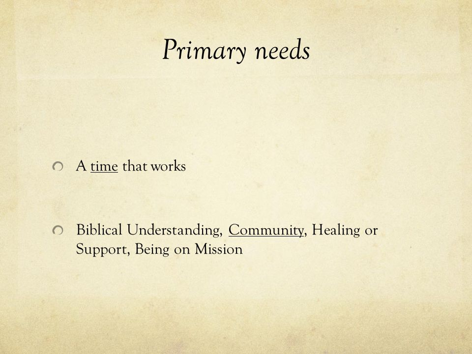 Primary needs A time that works Biblical Understanding, Community, Healing or Support, Being on Mission