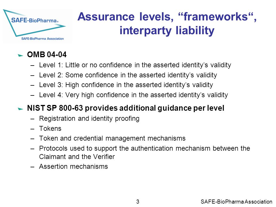 Assurance levels, frameworks , interparty liability OMB 04-04 –Level 1: Little or no confidence in the asserted identity's validity –Level 2: Some confidence in the asserted identity's validity –Level 3: High confidence in the asserted identity's validity –Level 4: Very high confidence in the asserted identity's validity NIST SP 800-63 provides additional guidance per level –Registration and identity proofing –Tokens –Token and credential management mechanisms –Protocols used to support the authentication mechanism between the Claimant and the Verifier –Assertion mechanisms 3 SAFE-BioPharma Association