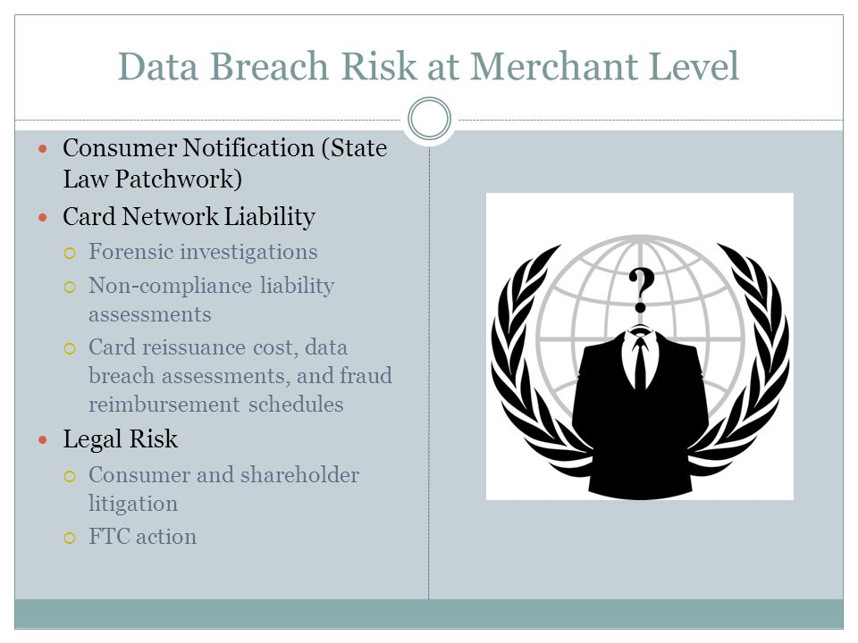 Data Breach Risk at Merchant Level Consumer Notification (State Law Patchwork) Card Network Liability  Forensic investigations  Non-compliance liabi
