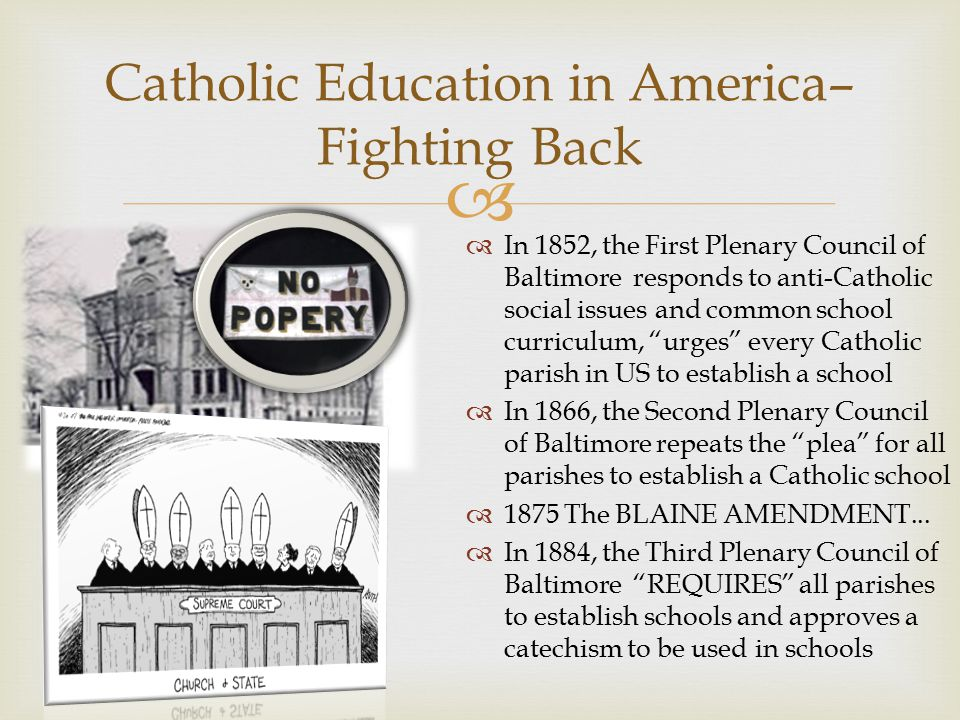  To Teach As Jesus Did – A Vision for Catholic Schools:  Catholic Schools afford the fullest and best opportunity to realize the fourfold purpose of Christian education.  Bishops affirmed the conviction that the Catholic school retain its immense importance in the circumstances of our times  Urged parents to entrust their children to Catholic schools  The Catholic school is the unique setting within which a person's faith becomes living, conscious and active through the light of instruction.  Catholic schools are distinguished by their ability to integrate religious truth and values with life.