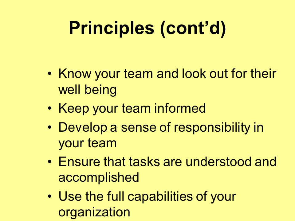 Principles (cont'd) Know your team and look out for their well being Keep your team informed Develop a sense of responsibility in your team Ensure that tasks are understood and accomplished Use the full capabilities of your organization