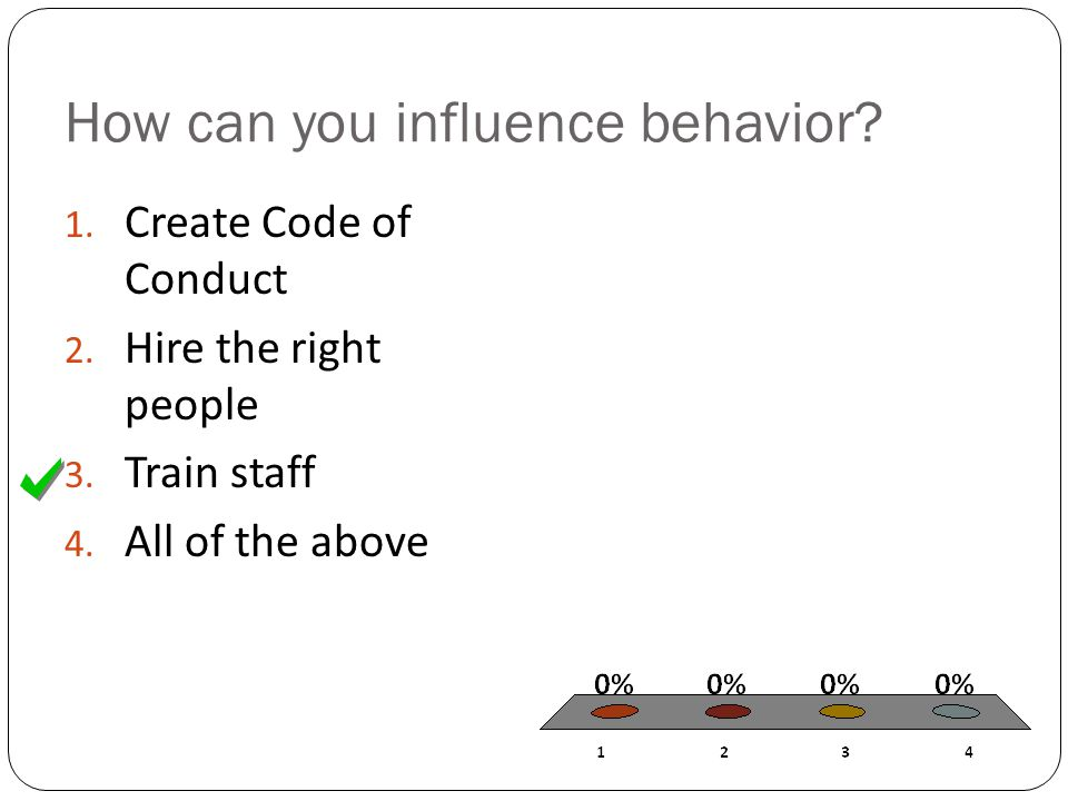 How can you influence behavior. 1. Create Code of Conduct 2.