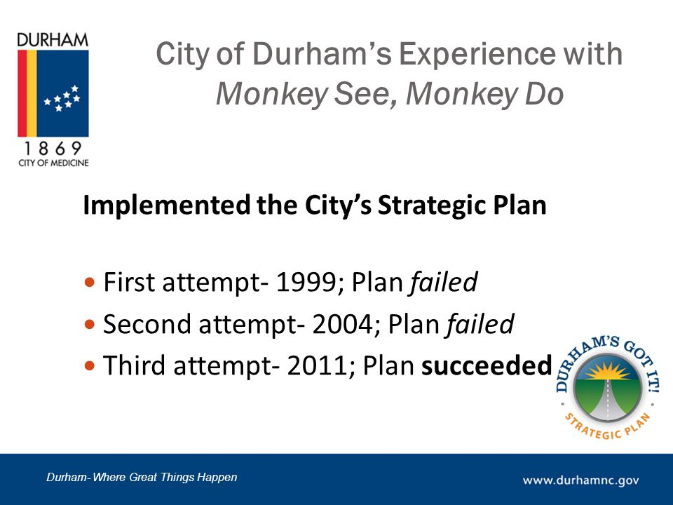 Durham- Where Great Things Happen City of Durham's Experience with Monkey See, Monkey Do Calculation of Overtime Timekeepers stated, This is how we have always calculated overtime.