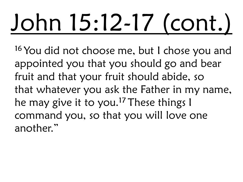 John 15:12-17 (cont.) 16 You did not choose me, but I chose you and appointed you that you should go and bear fruit and that your fruit should abide,