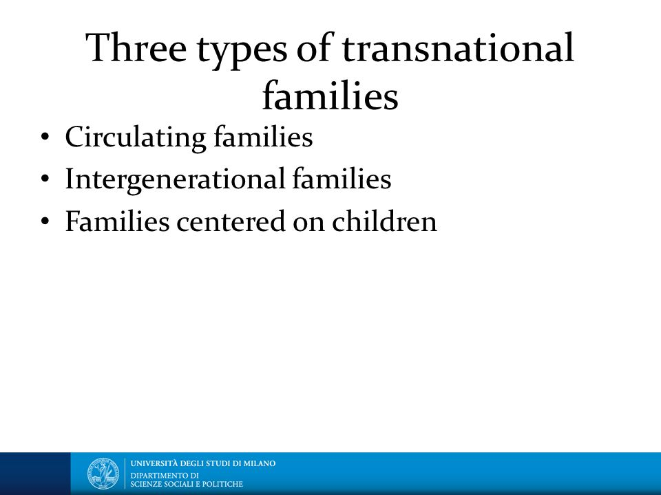 Three types of transnational families Circulating families Intergenerational families Families centered on children